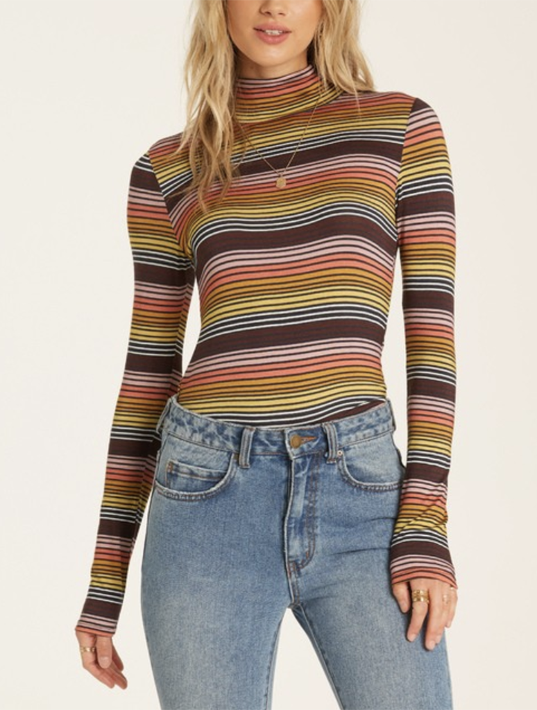 Billabong Let It Stand Striped Turtle Neck Top in Multi