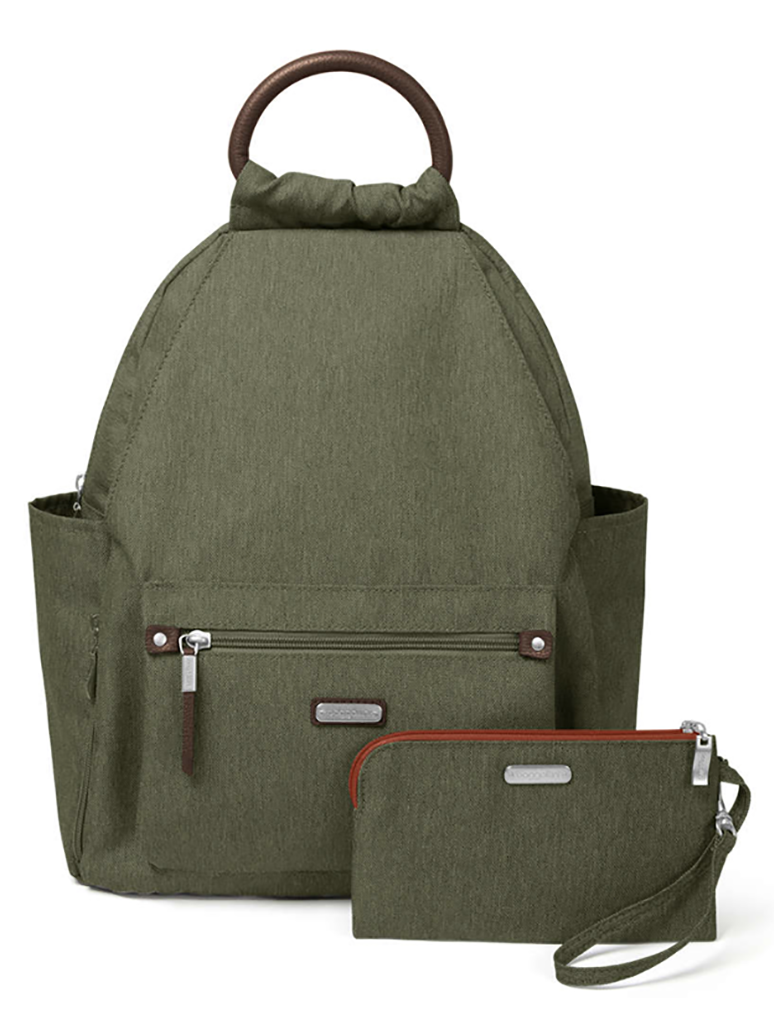 Baggallini All Day Backpack with RFID Phone Wristlet in Olive