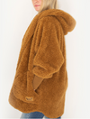 Nordic Beach Wrap Fuzzy Fleece Jacket in Butterscotch