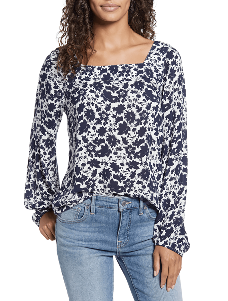 Lucky Brand Liane Square Neck Floral Top in Black