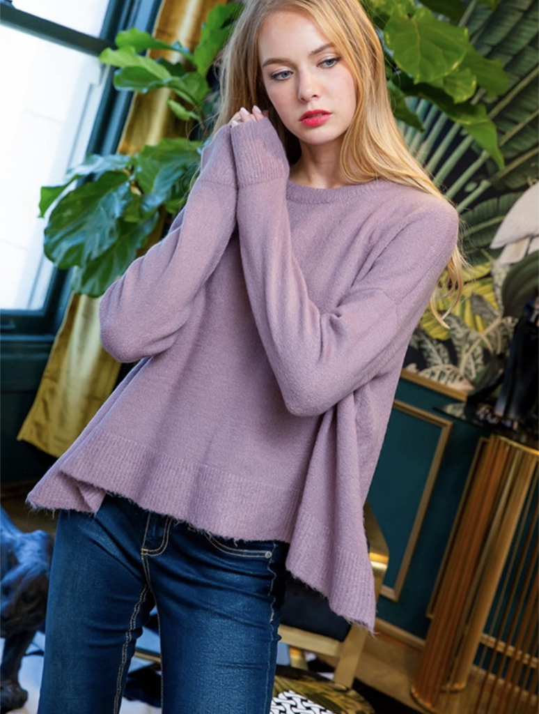 THML Drop Shoulder Long Sleeve Sweater Top in Lilac