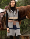 THML Colorblock Long Vest Collar Top in Grey