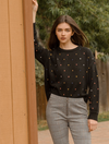 THML Drop Shoulder Polka Dot Sweater Top in Black