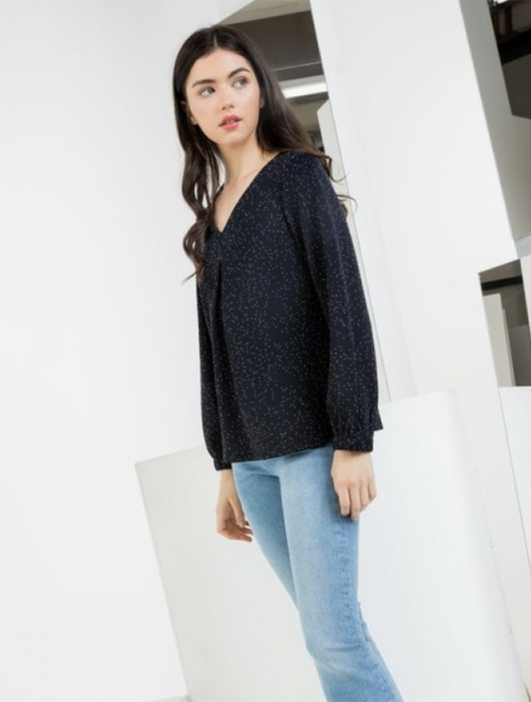 THML Dot V Neck Knit Blouse Top in Navy