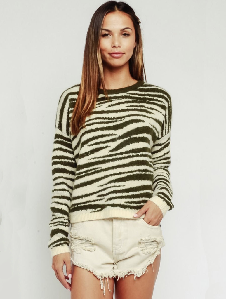 Olivaceous Zebra Pull Over Sweater in Olive