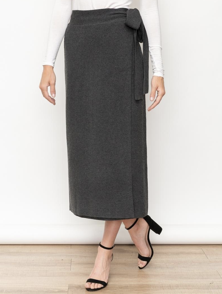 Mystree Wrap Knit Midi Skirt Charcoal