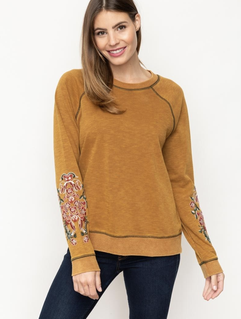 Mystree Acid Washed Embroidered Pullover Top in Mustard