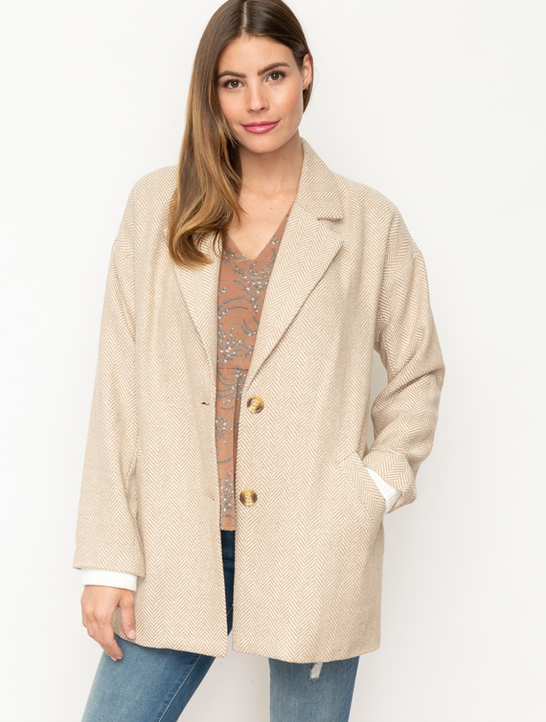 Mystree 2 Button Herringbone Blazer Half Coat in Taupe