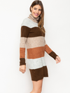 Mystree Color Block Sweater Dress in Taupe Mix