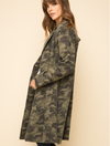Mystree Military Print Long Jacket in Olive