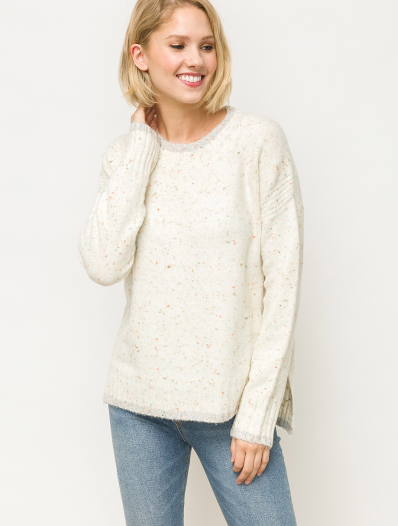 Mystree Popcorn Knit Sweater in Ivory