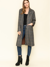 Mystree Check Twill Long Coat in Charcoal/Taupe