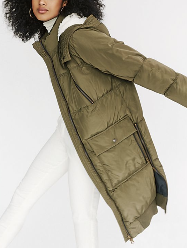 Free People Oslo Puffer Coat in Olive