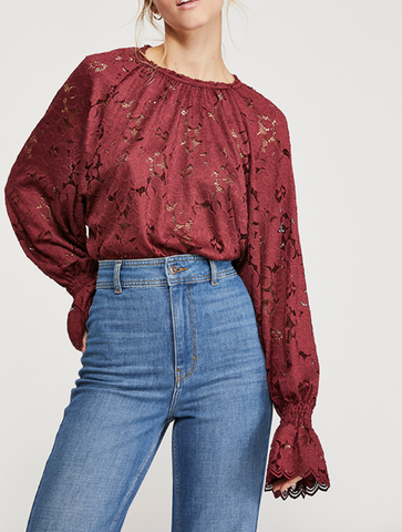 Free People Latte Flutter Sleeve Tee in Black