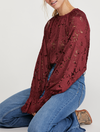 Free People Olivia Lace Tee in Wine