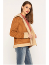 Miss Me Faux Suede Contrast Jacket in Tan