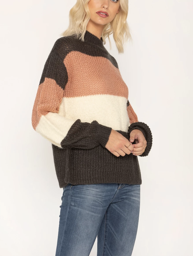 Miss Me Stripe Crew Sweater in Grey Multi