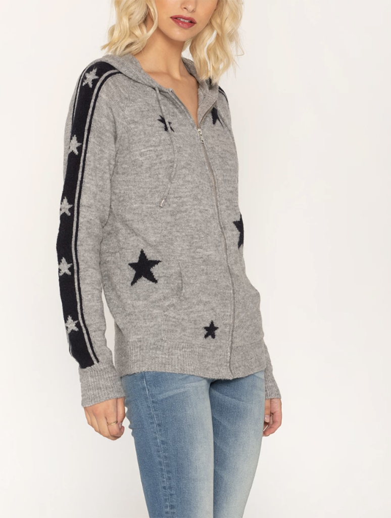 Miss Me Star Bright Sweater Hoodie in Grey