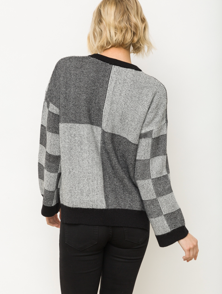 Mystree Color Block Sweater Top in Charcoal