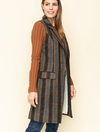 Mystree Plaid Vest in Charcoal