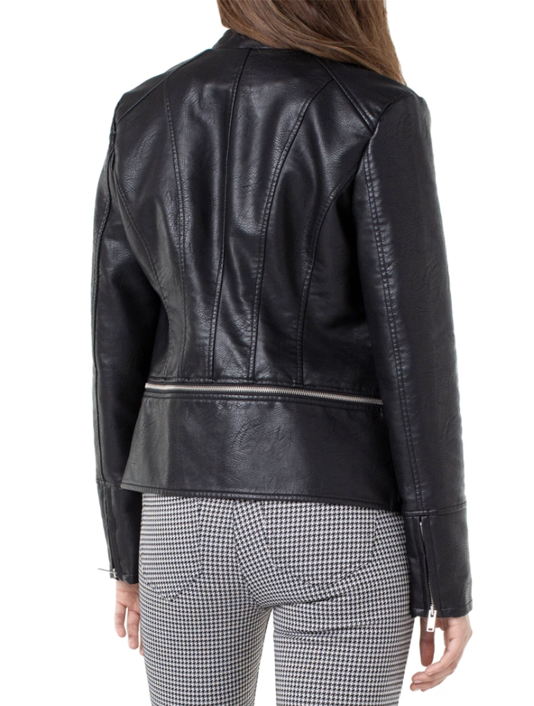 Liverpool Zip Off Faux Leather Moto Jacket in Black