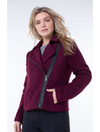 Liverpool Teddy Boucle Zip Up Moto Jacket in Berry