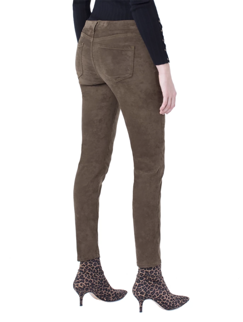 Liverpool Stretch Suede Abby Ankle Skinny Pant in Slate Green