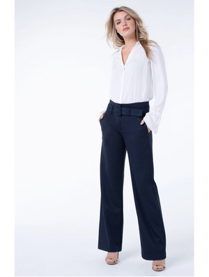 Liverpool Taylor Trouser Belted High Rise in Navy