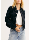 Free People Moonchild Denim Shirt Jacket in Moss