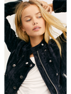 Free People Dusk Til Dawn Velvet Jacket in Black