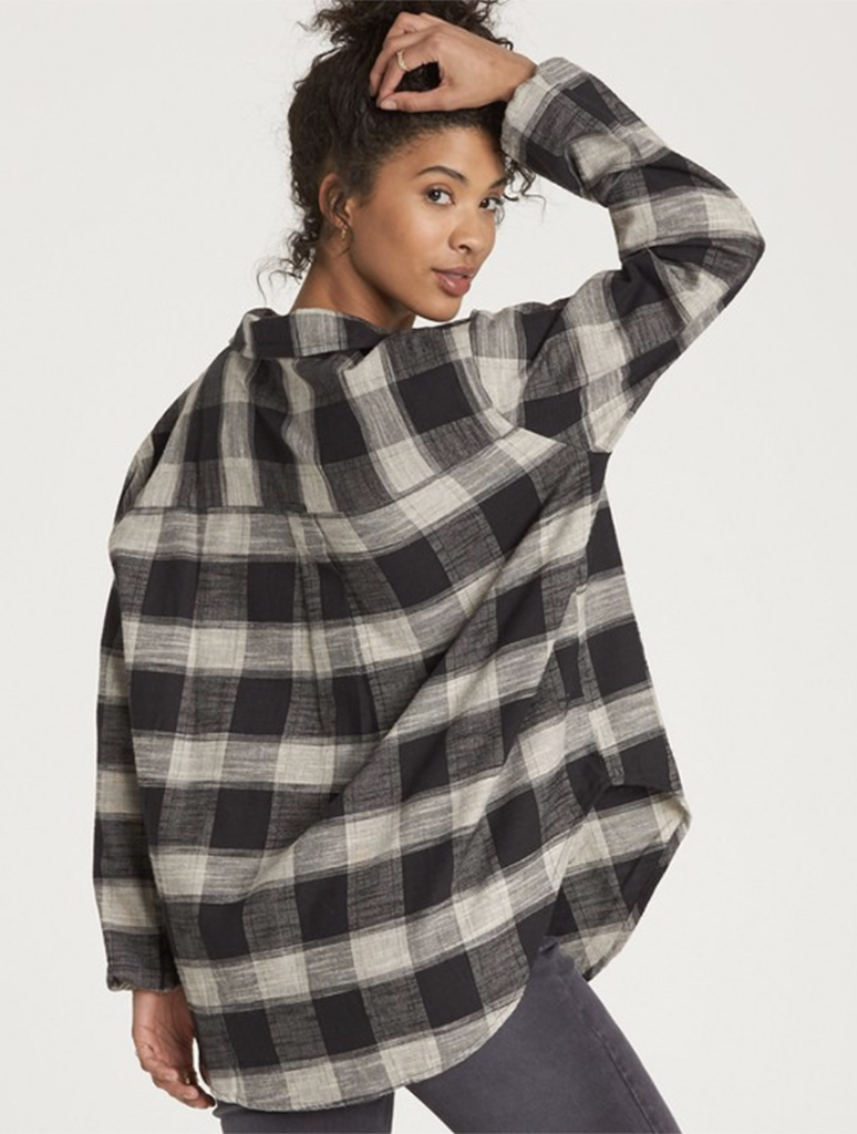 Billabong Cozy In Love Plaid Top in Black