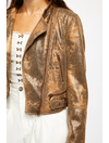 Free People Fenix Vegan Snakeskin Moto Jacket in Black