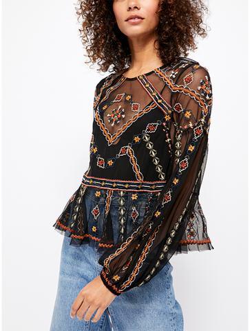 Free People Forever Your Girl Baby Doll Tee in Black