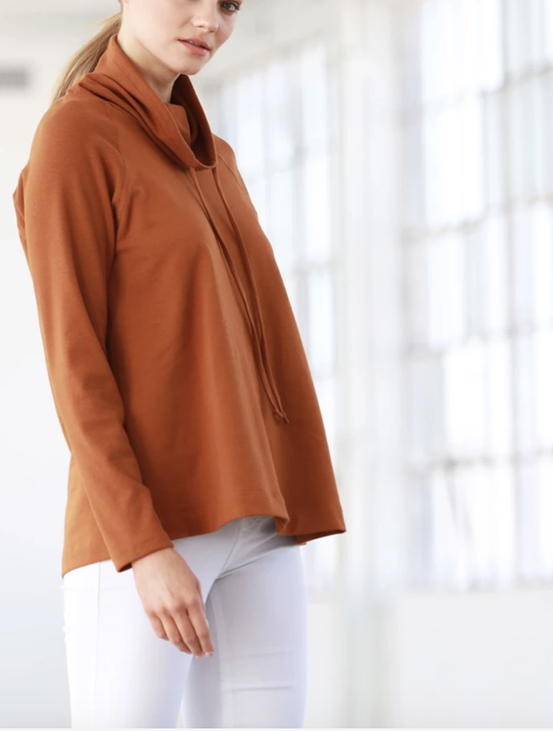 COA Cowl Oversized Sweater Top in Clay