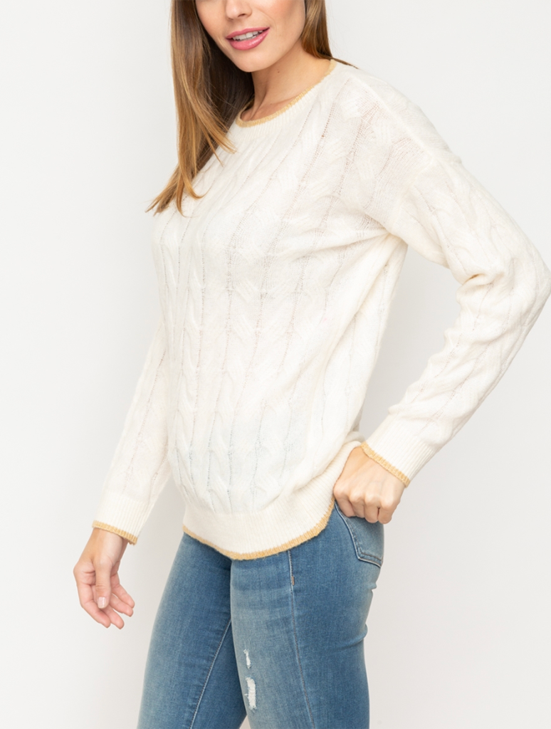 Mystree Edge Pointed Cable Sweater in Ivory