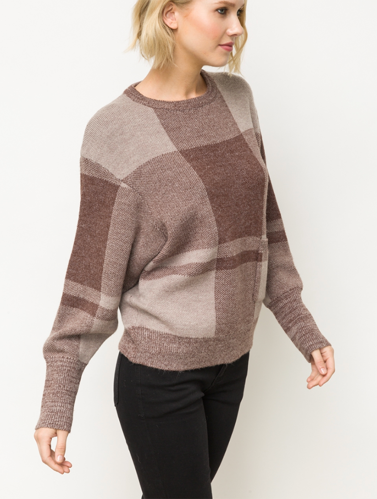 Mystree Plaid Sweater in Burgundy/Mauve