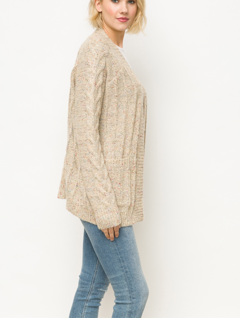 Mystree Twist Texture Cardigan Sweater in Oat
