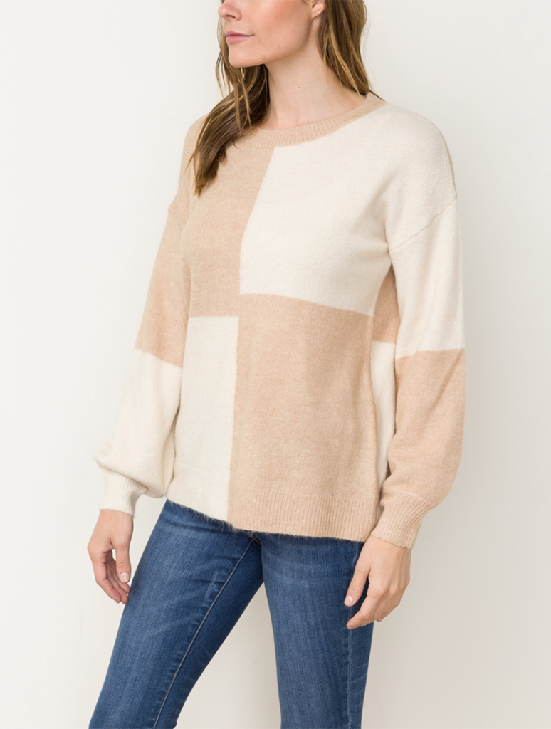 Mystree Color Block Sweater Top in Blush