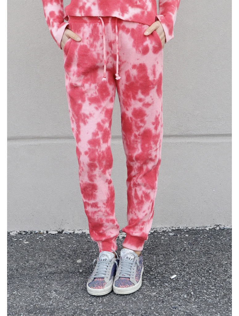 RDStyle Tie Dye Jogger Waffle Pant in Red