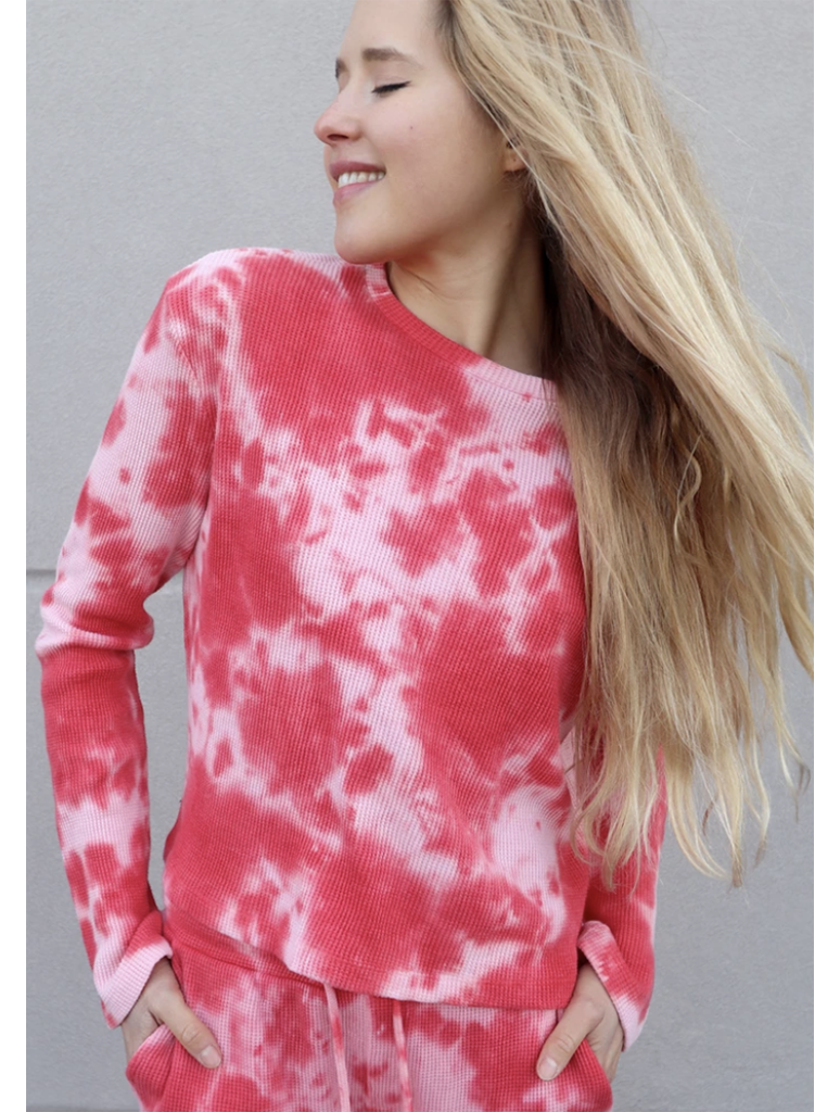 RDStyle Tie Dye Waffle Top in Red