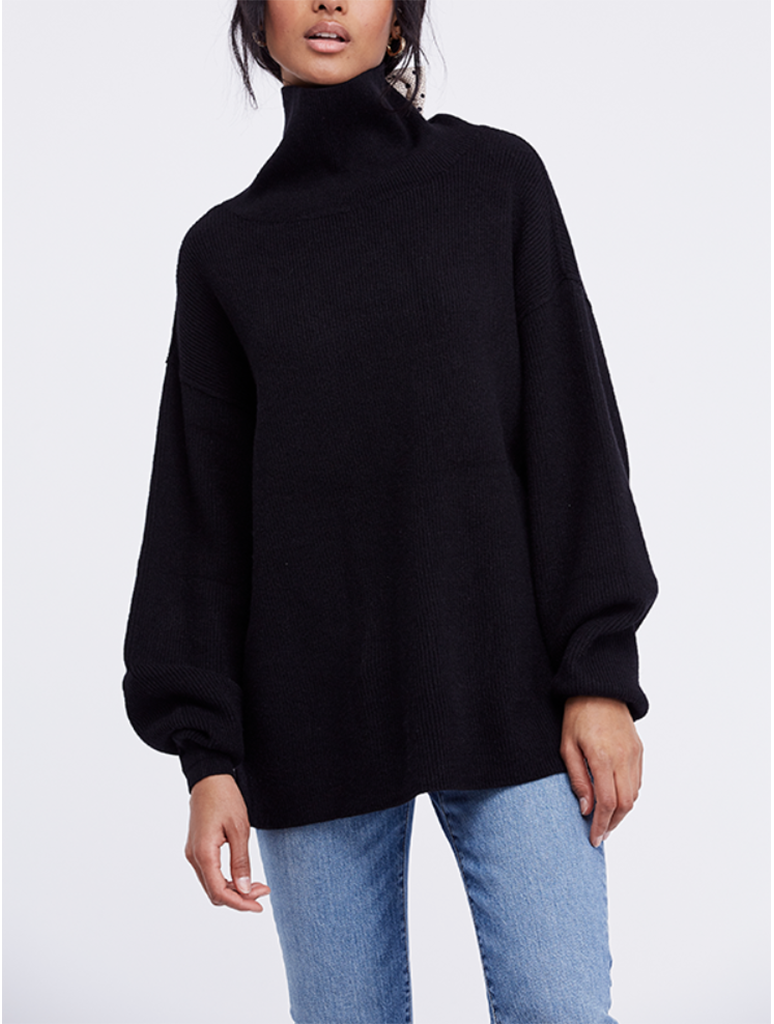 Free People Softly Structured Tunic Sweater in Black
