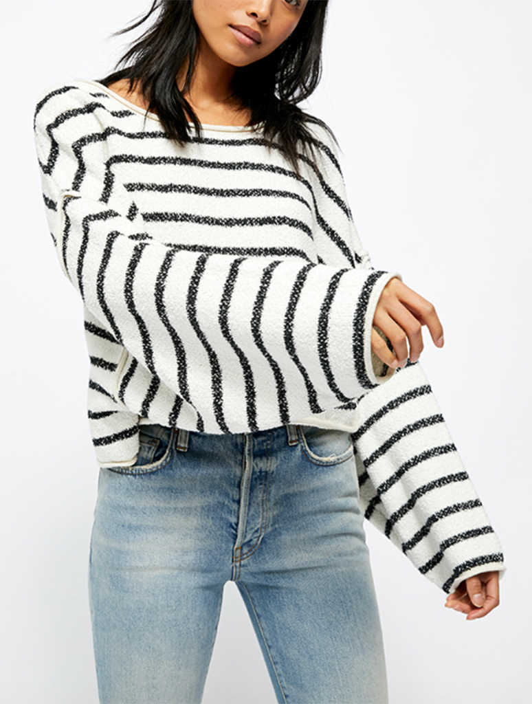 Free People Bardot Sweater in Black/White