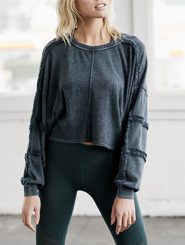 Free People Magnolia Long Sleeve Tee in Black