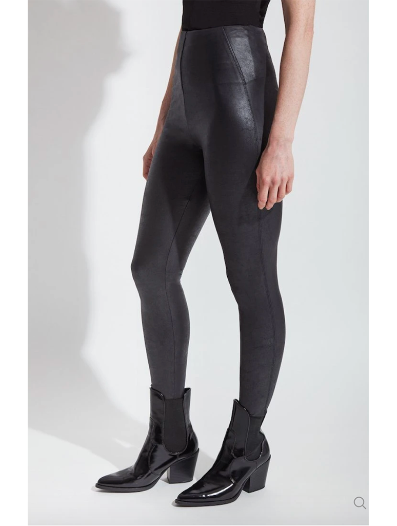 Lysse Foil Faux Leather Legging in Black