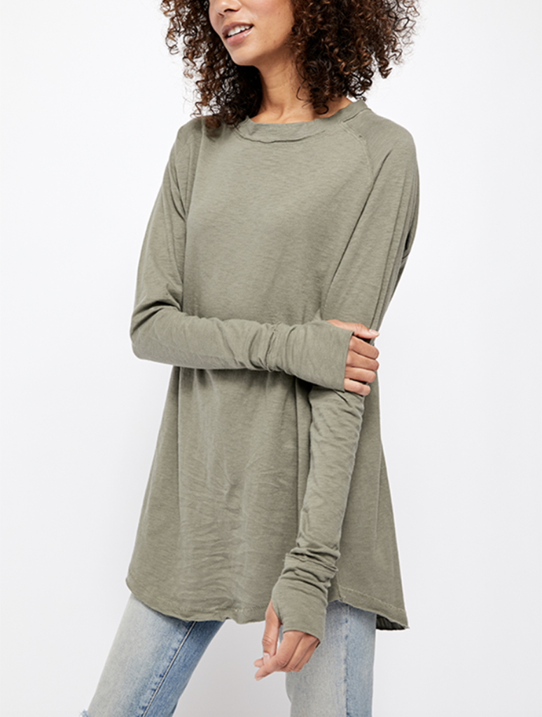 Free People Arden Tee in Army