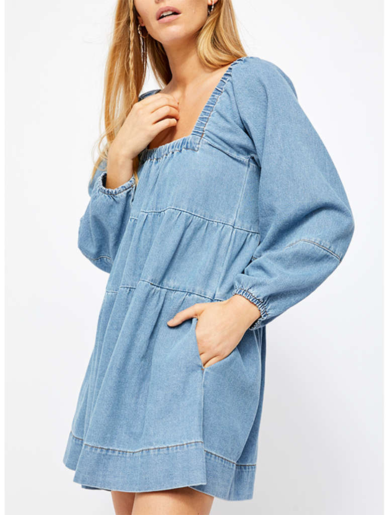 Free People Lou Jean Babydoll Dress in Bleach Wash