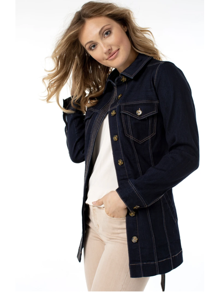 Liverpool Belted Long Silky Soft Jacket in Virginia Wash