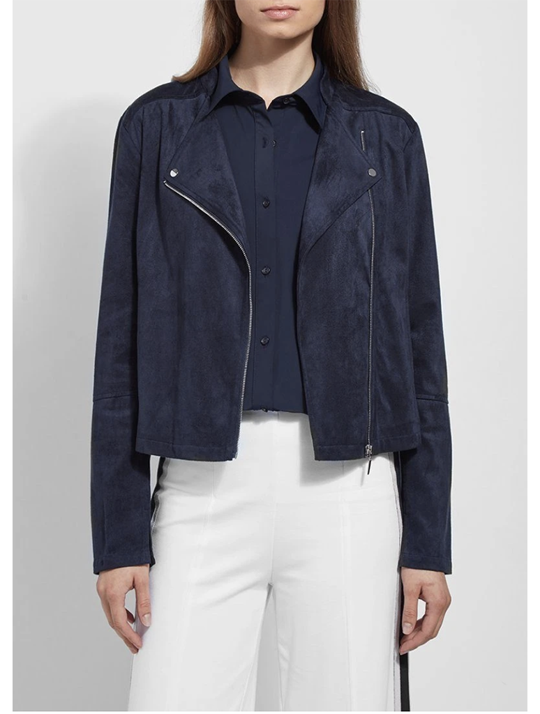 Lysse Suede Moto Jacket in Navy