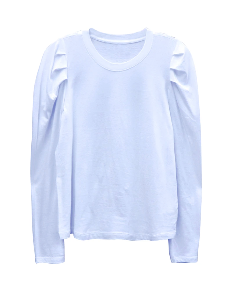 RD Style Puff Sleeve Crew Neck Sweatshirt in White