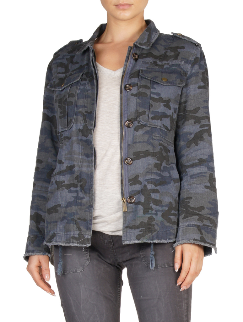 Elan Camo Military Jacket in Blue